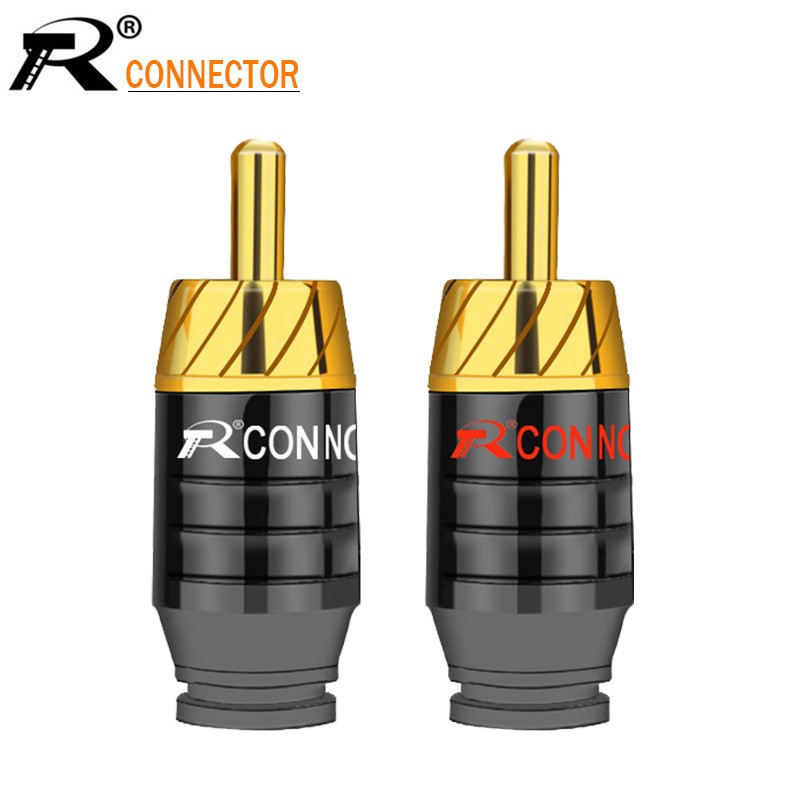 2Pcs/1Pair Luxury Soldering RCA Plug Jack Connector Speaker Audio Output/Input Adapter Plug Gold Plated Earphone Connector Jack