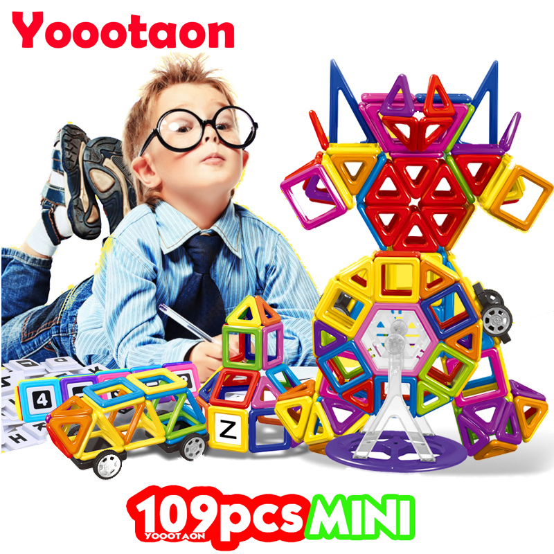 109PCS Solid color Magnetic Building Blocks Toys Mini 3D DIY Learning Educational Toy Bricks Magnetic Kids Toys 32pcs magnetic tiles building mini magnetic blocks solid 3d magnetic block building toys for children bricks