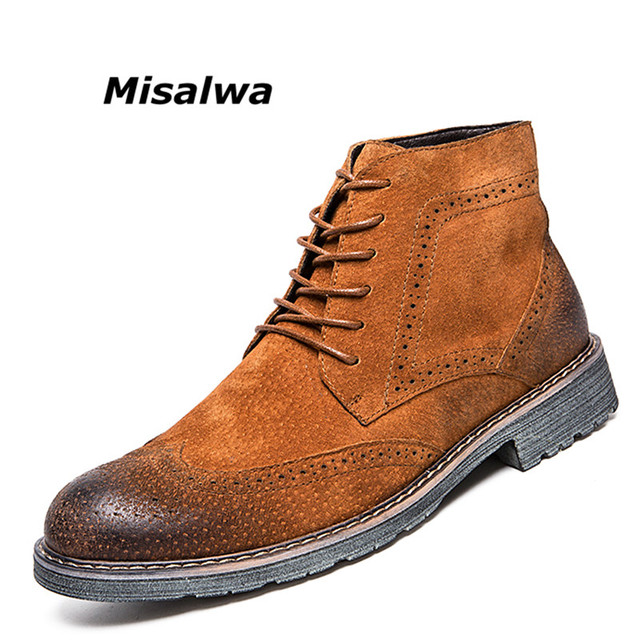 96edc51504f US $34.02 48% OFF|Misalwa Men's Urban Suede Leather Chukka Boots 2019 Newly  Roma Style Brogue Casual Western Boots Brown Ankle Desert Boots Boys-in ...