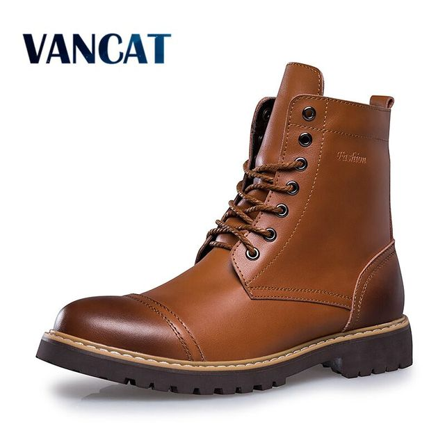 548f17e9c65 Vancat 2018 Autumn Winter Genuine Leather Men Boots High Quality Lace-up Men  shoes Warm Snow Boots Motorcycle Boots Size 38-46