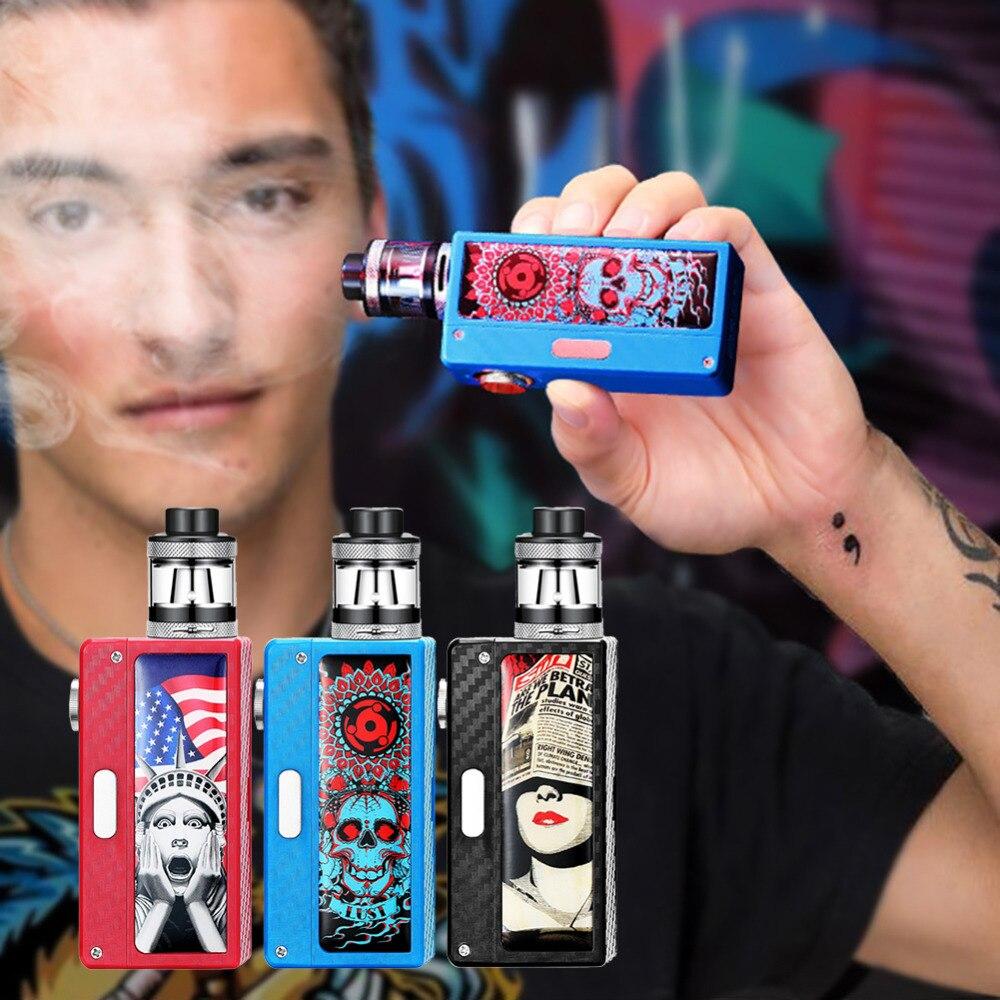 100W Top Air Intake Smoke Cessation Electronic Cigarette big Smoke Metal Body Vape Atomizer Vaporizer Kit With Cool Stickers