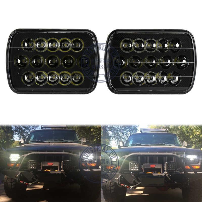 Faro Led de 7x6 pulgadas para Jeep XJ MJ 45w foco Led de haz bajo alto para camiones todo terreno 4x4 4WD 2 piezas