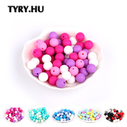 TYRY.HU 40Pcs Silicone Beads Baby Teething Chewable Teethers Safe Toys For Pacifier Chain Leash Decoration  BPA Free 12mm