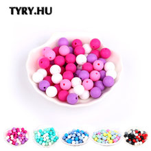 TYRY.HU 40Pcs Silicone Beads Baby Teething Chewable Teethers Safe Toys For Pacifier Chain Leash Decoration BPA Free 12mm(China)