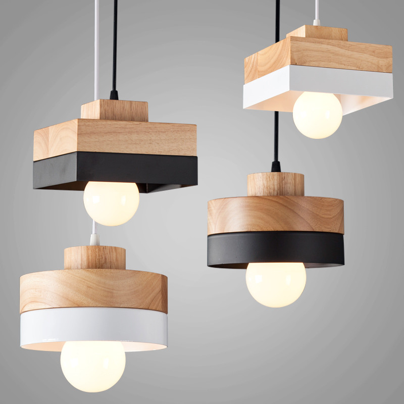 180mmX120mm Wood Iron Pendant Lamp Black White Wooden