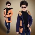Retail England Style 2015 Boys Fashion Casual Thicken Woollen Jacket Male Kid Patchwork Wadded Tweed Coat Children Overcoat G217