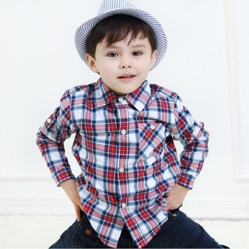 13242ff3a9d08 US $10.31 6% OFF|Aliexpress.com : Buy Hooyi 2018 Grid Boys Shirts Blue  Plaid Check Children's Clothing Shirt Tops 2 3 4 5 6 7 8 9 10 Year Kids T  ...