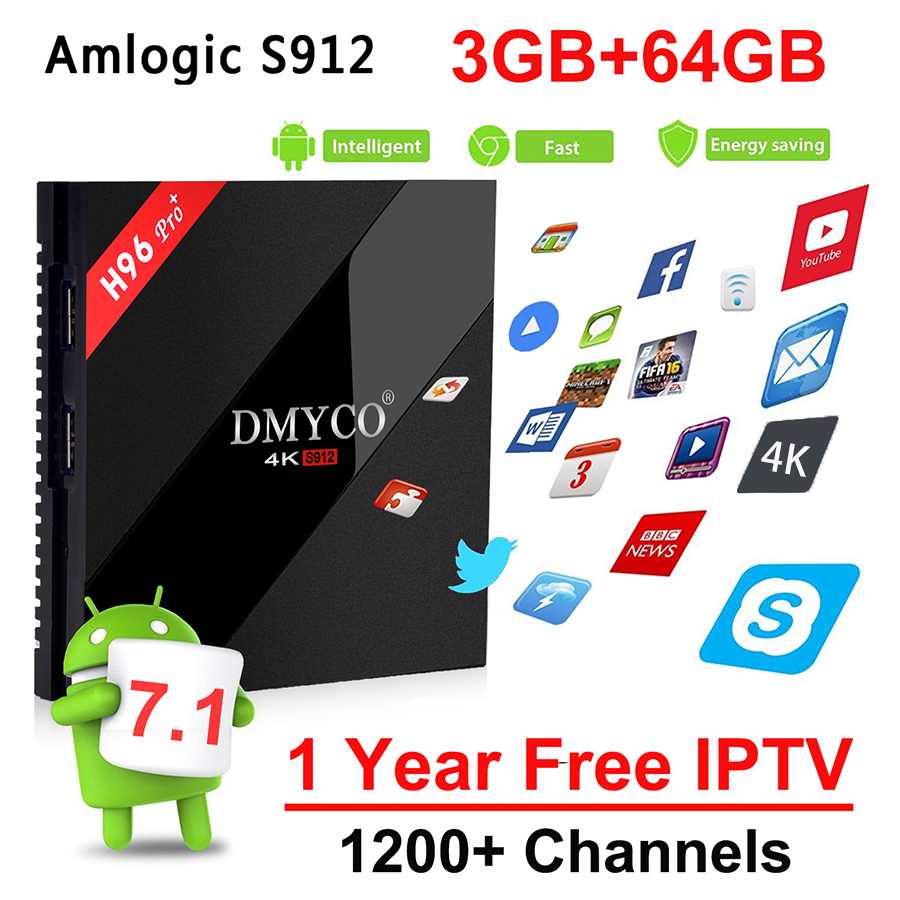 IPTV Box H96 Pro Android 7.1 Europe Italia Smart 4K TV Box 3G 64G 1200 Live IPTV 1 Year Subscription French Arabic IPTV Top Box недорго, оригинальная цена