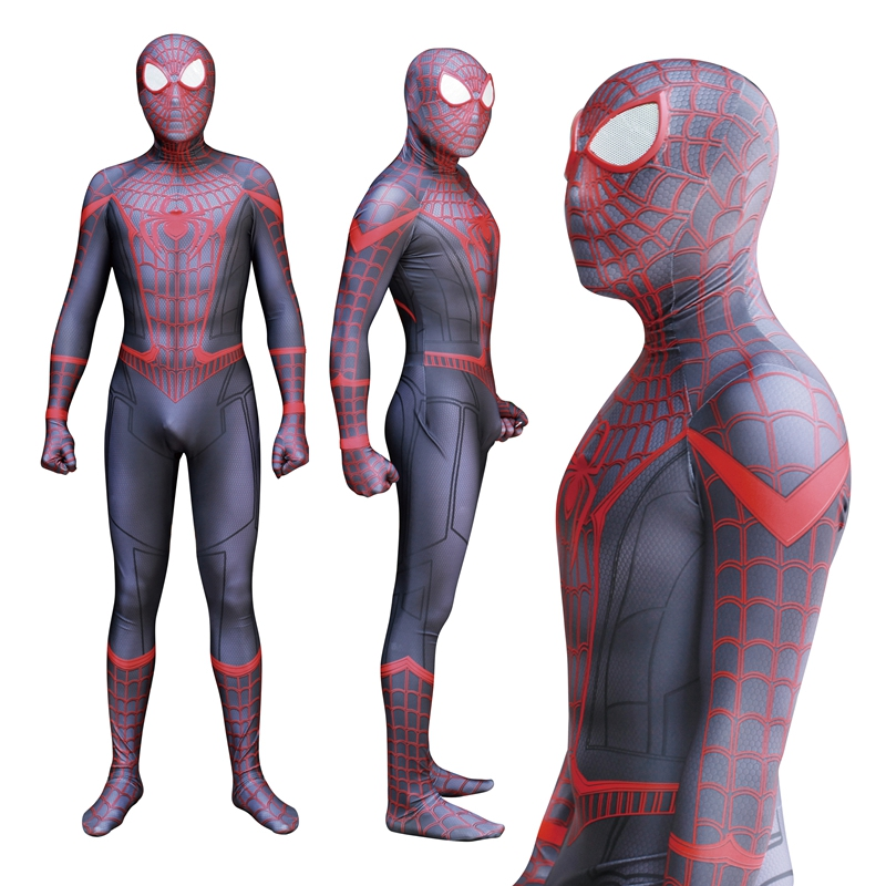 FOGIMOYA Adult Men Spiderman Miles Morales Cosplay Costume Zentai Spider Man Superhero Bodysuit Suit Jumpsuits