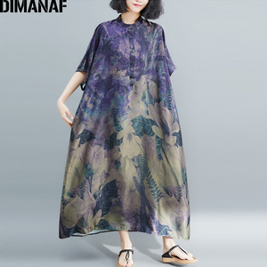 Image 1 - DIMANAF Plus Größe Frauen Kleid Vintage Große Größe Weibliche Vestido Sommer Sommerkleid Lose Drucken Floral Dame Elegante Lange Kleid 5XL 6XL