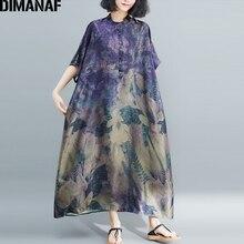 DIMANAF حجم كبير النساء فستان Vintage حجم كبير الإناث Vestido الصيف فستان الشمس فضفاضة طباعة الأزهار سيدة أنيقة فستان طويل 5XL 6XL