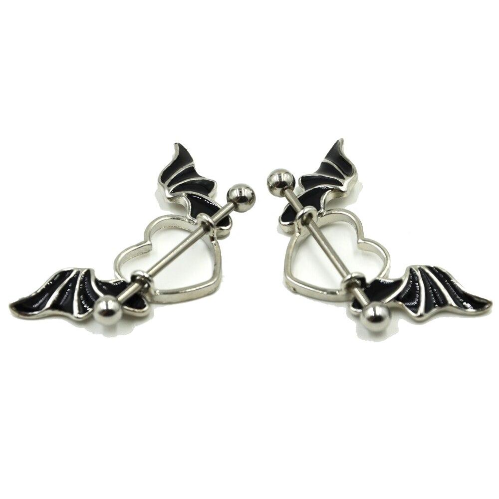 Pair stainless steel bat wing nipple shield ring angel for Angel wings nipple piercing jewelry