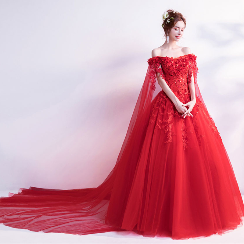 abule red prom dresses luxury strapless flowers appliques lace up ...