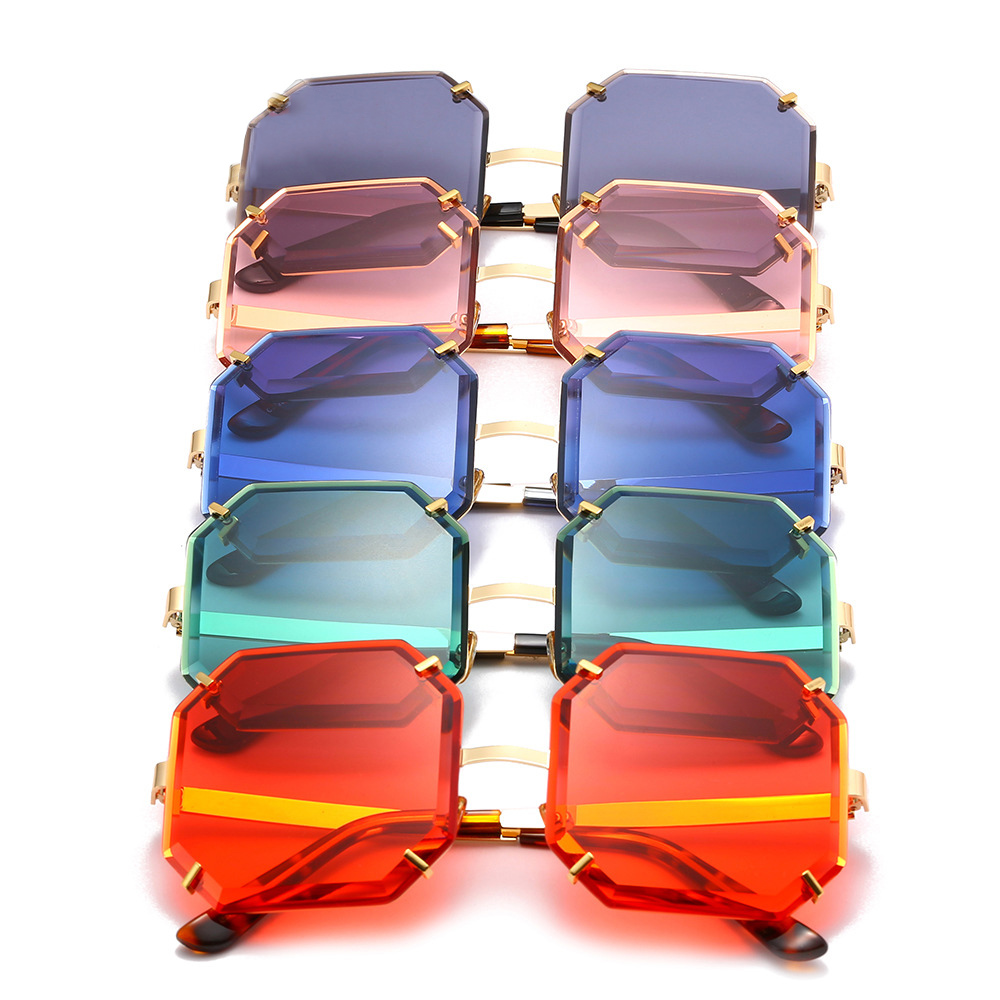 Crystal Square Rimless Sunglasses Gradient Lens Sun Glasses for Women Luxury Vintage Brand Ladies Eyewear Party Oculos De Sol in Women 39 s Sunglasses from Apparel Accessories