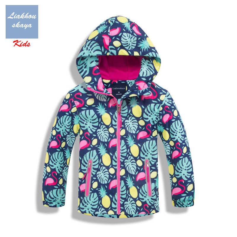 Liakhouskaya 2019 패션 키즈 양털 Casaco 자켓 소녀 용 꽃 코트 겉옷 어린이 봄용 윈드 브레이커 방수