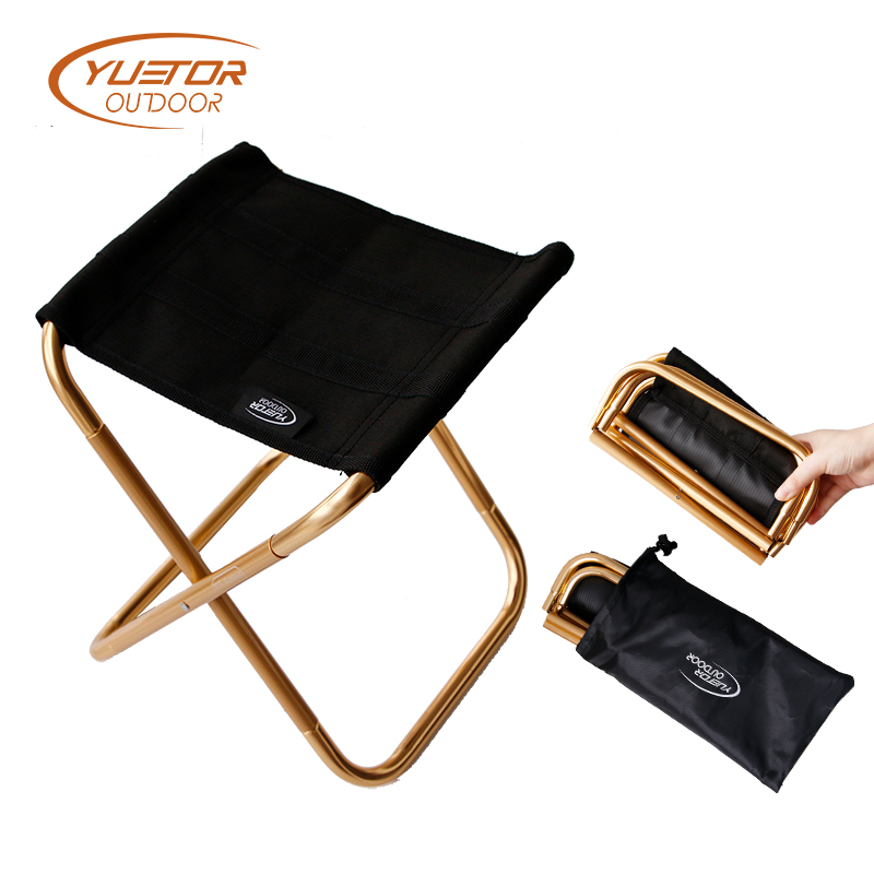 YUETOR Outdoor Camping Chair Lightweight 7075 Aluminum Folding Chairs Portable Fishing Chair with Storage Bag portable fishing chair with cool bag oxford cloth stool with large capacity storage zipper ice bag fishing chair bag 28x29x60cm