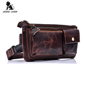 Men Fanny Pack Waist Bag Oil Wax Genuine Leather Cowhide Vintage Travel Cell/Mobile Phone Hip Bum Belt Pouch Purse Bag