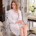 Hot Sales. Autumn New Women Long Sleeve Woven Cotton Gown Contracted Household To Take The Spring and Autumn Nightgown Robes
