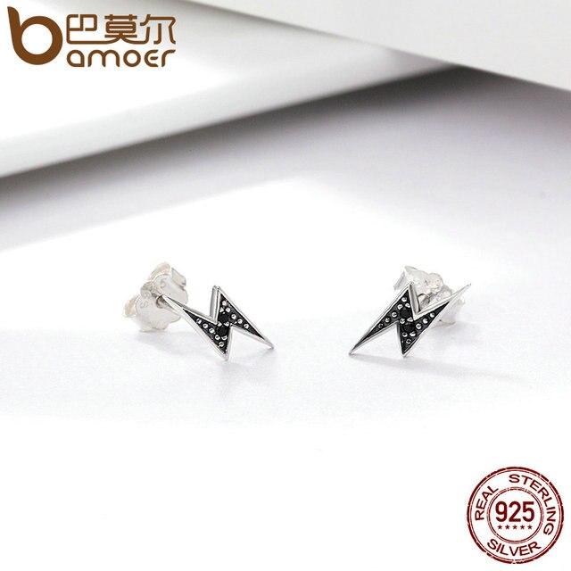 BAMOER 925 Sterling Silver Exquisite Lightning & Black CZ Stud Earrings  3