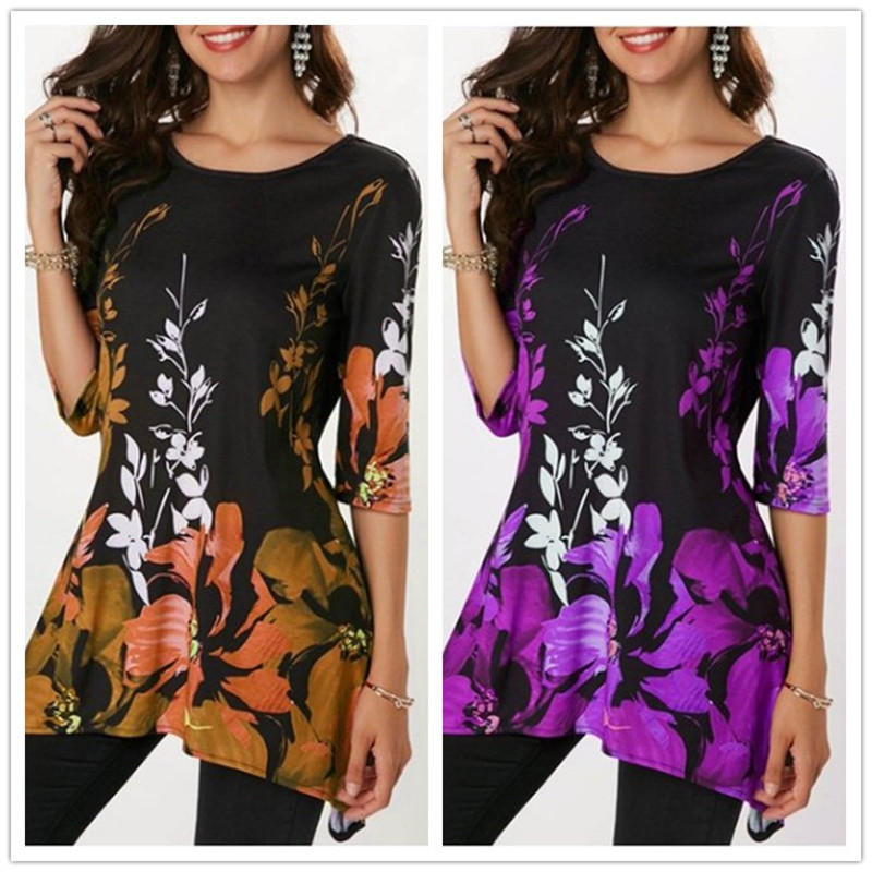 2019-Summer-Large-Size-S-5XL-Women-s-T-shirt-Half-Sleeve-O-Neck-Floral-Print (5)