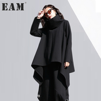 EAM 2018 New Spring High Collar Long Sleeve Irregular Loose Solid Color Black Loose T
