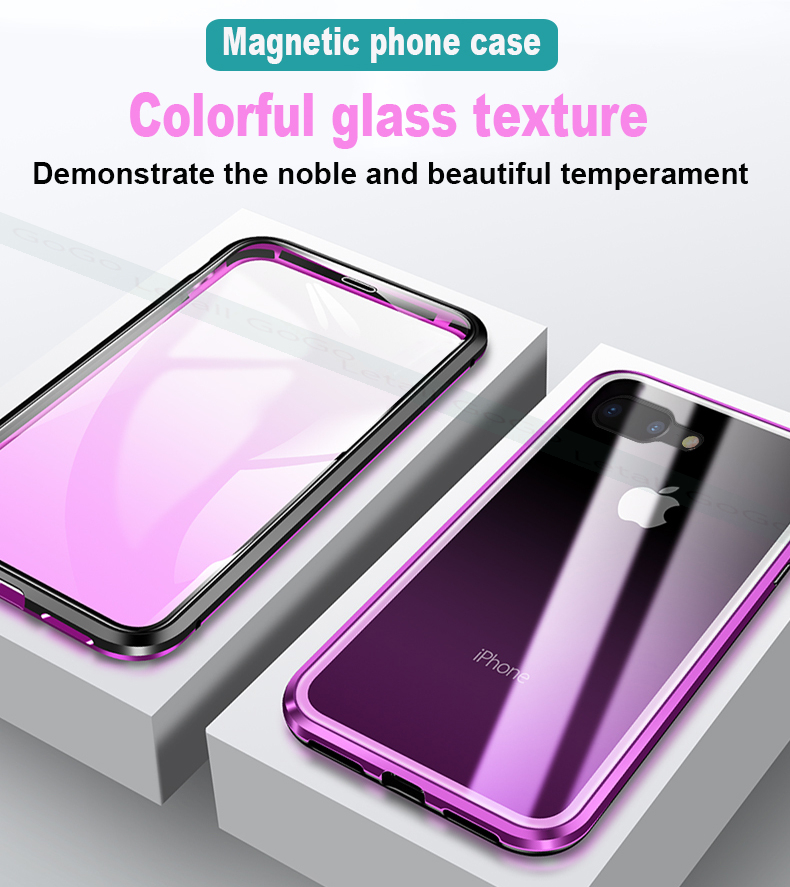 Magnetic clear  tempered glass Metal phone cover case  (4)