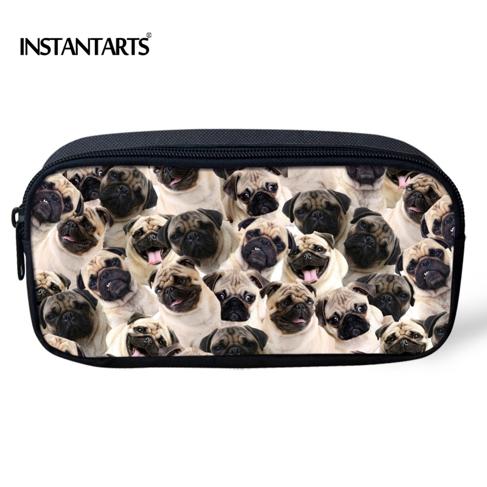 INSTANTARTS 3D Funny Pug Dog Puzzle Pencil Cases For Children Women Travel Make Up Bags Animal Husky Printing Kids Storage Bags