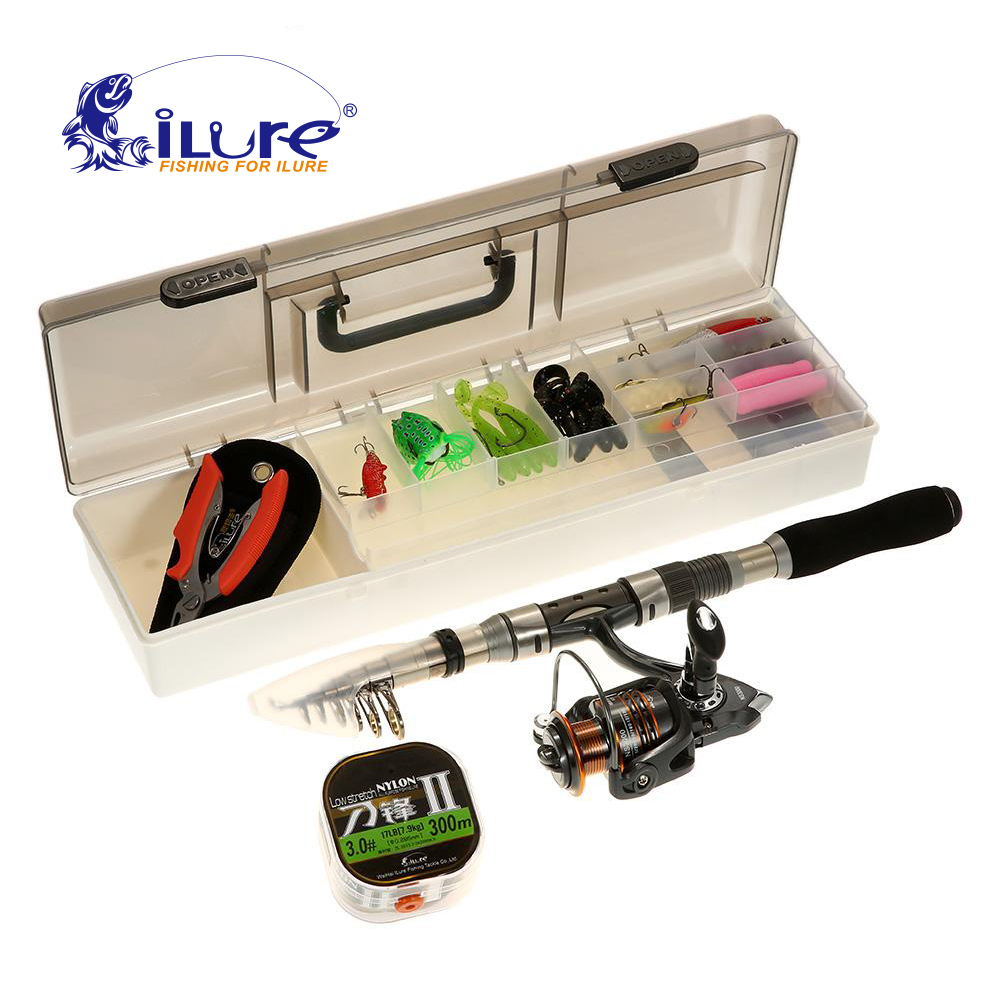 iLure 2.1M / 2.4M Telescopic Fishing Rod Reel Combo Full Kit Spinning Reel Pole Set Fish Line Lure Kit Hook Fishing Tackle Boxes outlife outdoor fishing spinning reel rod kit set with fish line lure hook bag