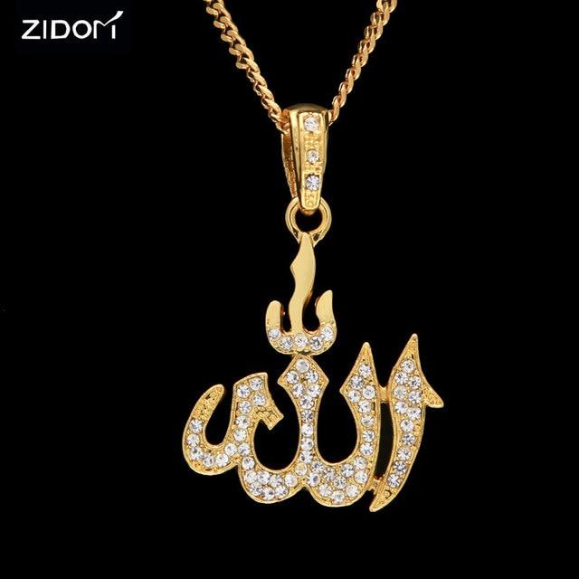 Men Hip Hop Style Islam Allah Pendant Necklaces Gold Silver Color