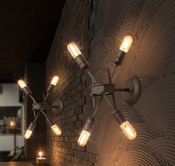 4 Heads Nordic Retro Industrial Wind Wall Lamp Aisle Restaurant Bar Cafe Creative Personality Iron Wall Lamp Free Shipping loft retro industrial wind iron arts lift telescopic chandeliers clothing shop cafe bar restaurant lamp free shipping