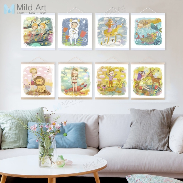 Kawaii Animals Zodiac Aries Wooden Framed Hanger Posters Kids Baby Room Wall Art Pictures Home Bar Decor Canvas Paintings Scroll