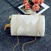 New Designer gold Chain Clutches Bags with Tassel Women luxurious silk Knitting Evening Bag Wedding Party handbag Purse MN2019