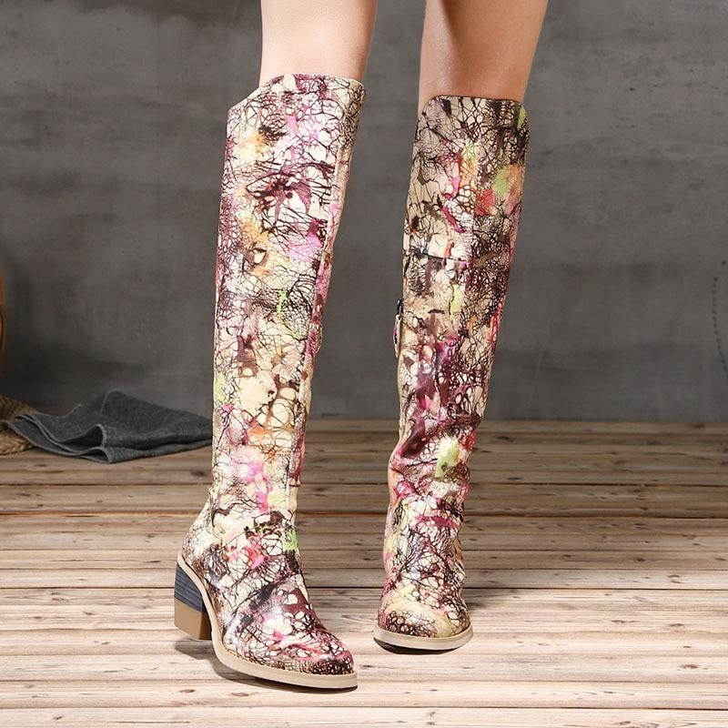 Artdiya Original Winter Boots New Genuine Leather Over-the-Knee High Boots Graffiti High Heels Handmade Women Boots H81-709 цены онлайн