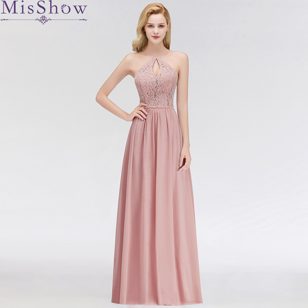 Robe de Soiree Longue Cheap A Line Evening Dress Long 2019 Dusty pink Evening Gowns Chiffon Lace Formal Long Party Dress Women