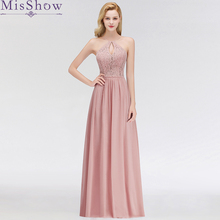 купить Robe de Soiree Longue Cheap A Line Evening Dress Long 2019  Dusty pink Evening Gowns Chiffon Lace Formal Long Party Dress Women по цене 2367.52 рублей