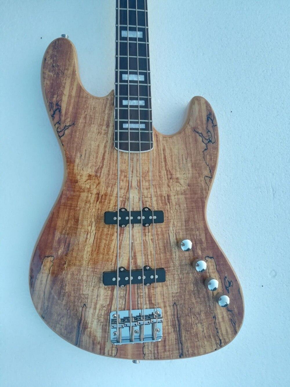 Usine en gros GYJB-5022 d'origine couleur Ronce grain couverture touche palissandre 4 cordes Precision Bass Guitare, Livraison gratuite