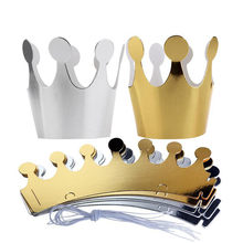 10Pcs Kids Adult Happy Birthday Paper Hats Cap Prince Princess Crown Party Decoration For Boy Girl 5Pcs Silver 5pcs Gold