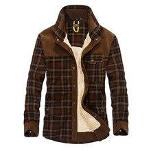 Осенняя и зимняя мужская куртка повседневная рубашка плюс бархатная куртка деловая Повседневная куртка большого размера