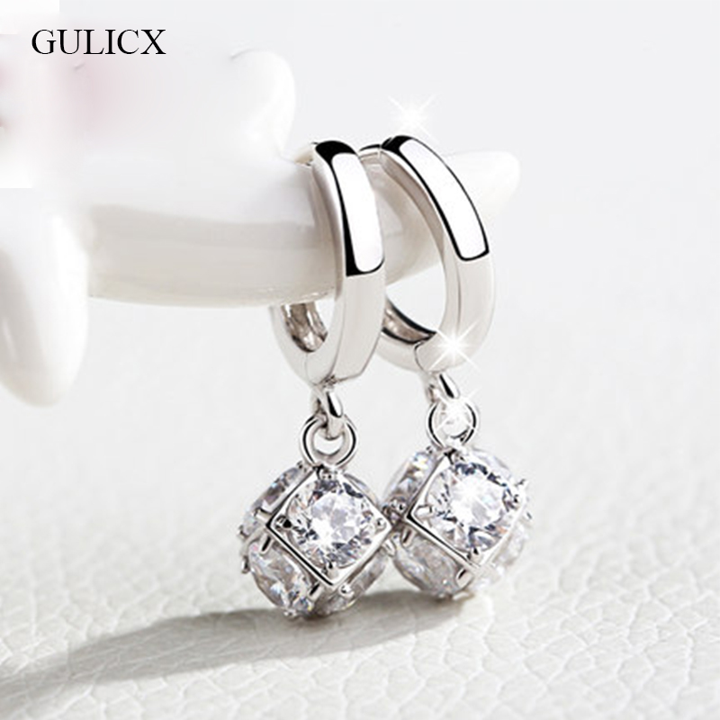 GULICX Fashion White Gold color Drop Earrings for Women Long Dangle Earing Crystal CZ Zircon Statement Wedding Ball Jewelry E304
