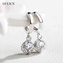 GULICX Fashion White/Gold-color Drop Earrings for Women Long Dangle Earing Crystal CZ Zircon Statement Wedding Ball Jewelry E304