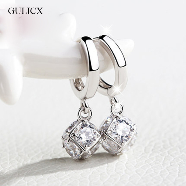 GULICX Fashion White/Gold-color Drop Earrings for Women Long Dangle Earing Cryst