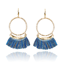Women 2017 Golden Round Circle Statement Boho Ethnic Tassel Fringe Drop Earrings Ladies Jewelry Accessories Wholesale Sales Item