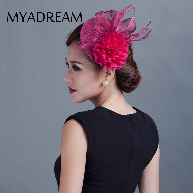 b1c3dfbcc0c MYADREAM Elegant Ladies Fedora for Wedding Banquet Party Dress Flower Feather  Hats for Women Top Hat Chapeau Toca Hair Clip-in Fedoras from Apparel ...