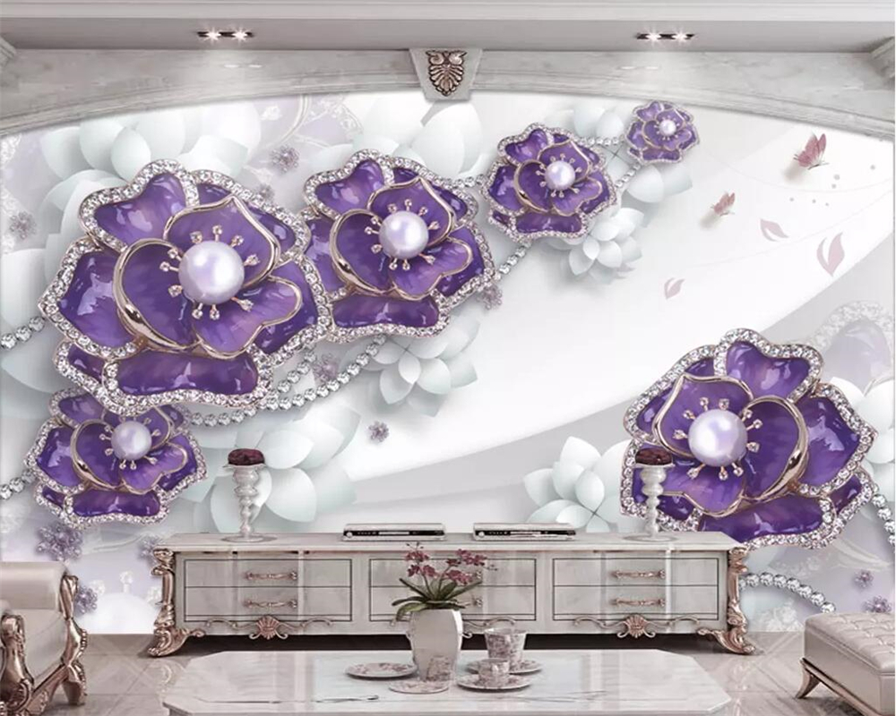 Beibehang Custom wallpaper exquisite three dimensional purple flower jewelry TV background wall decoration mural 3d wallpaper in Wallpapers from Home Improvement
