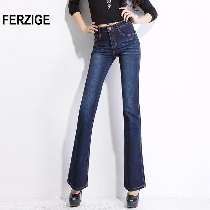 FERZIGE Jeans Women High Waist Elasticity Bell Bottoms Slim Jeans Push Up Dark Blue Denim Sexy Ladies Flare Pants Big Size 34 36