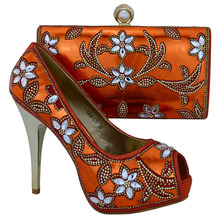 Italian shoes and bag for Arican wedding,1308-L77 Orange size 38-42 for Elegant design Shoes and bag for Free shipping.
