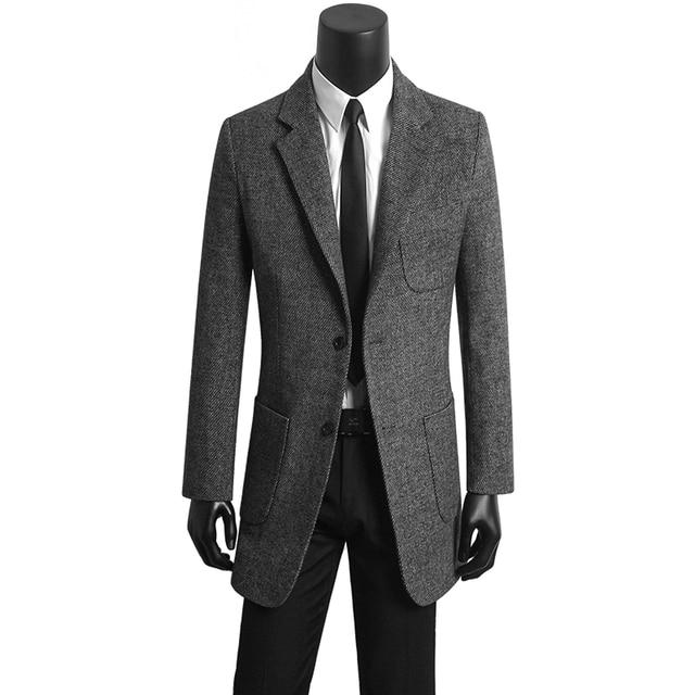 fd022198af92d Corea ropa jóvenes hombres traje casual abrigos de lana delgada para hombre  café chaqueta casaco masculino
