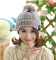 Fashion Cute Autumn Winter Warm Knit Snow Hat Snowboarding Beanie Crochet Cap Hats With Hair Ball