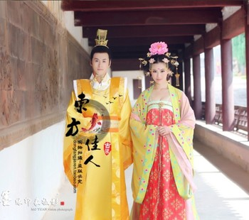 TV Play Legend of Great Tang Empress - Wu ZeTian Yellow Hanfu Costume Wedding Costume han dynasty empress wu zetian cosplay hair empress hair tang empress hair chinese ancient hair for women