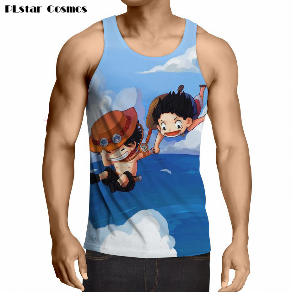 bb385e1cff5a68 PLstar Cosmos brand Men Fashion Summer Tank Top One Piece 3d Print Luffy T  Shirt Sleeveless Men Casual Fitness Vest Plus size-in Tank Tops from Men s  ...